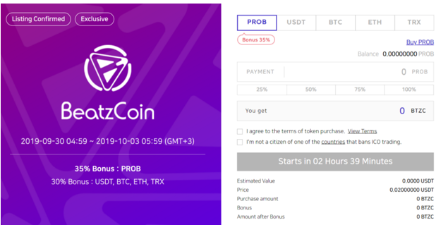 Participate in the BeatzCoin IEO's first round on ProBit.com from September 30