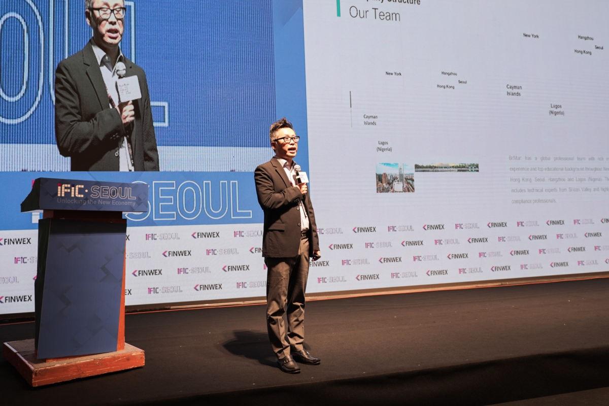 BitMart CBO Peter King is delivering speech