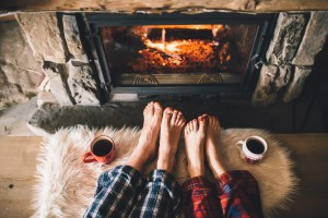 Romantic Valentine's Day in Front of Fire