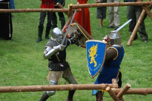 Medieval footed knights, fighting
