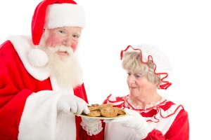 Santa and Mrs Claus with plate of cookies