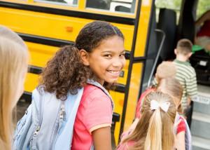 School Bus: Cute Girl Getting On Bus