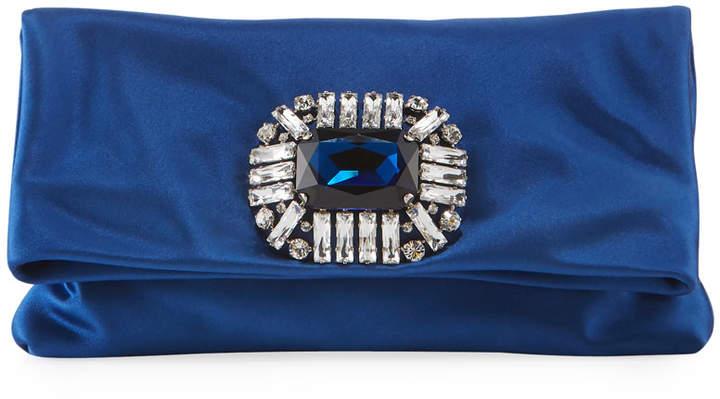 Jimmy Choo Titania Jeweled Satin Clutch Bag in Blue