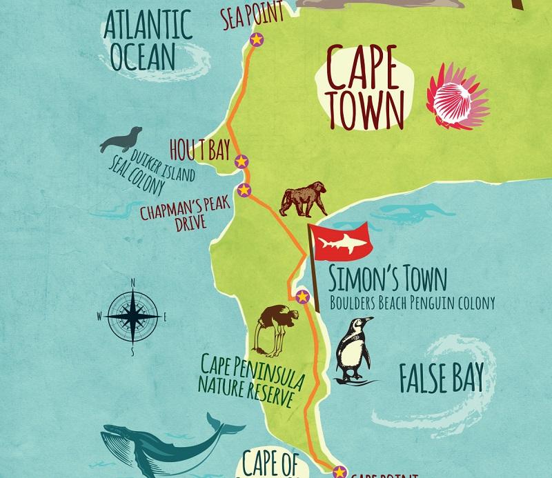 Cape Point na Cidade do Cabo - Mapa