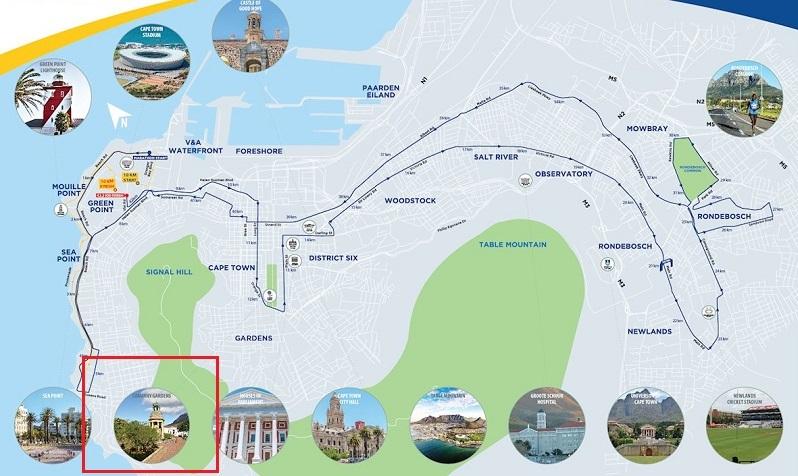 Mapa com a localização do The Company's Garden na Cidade do Cabo