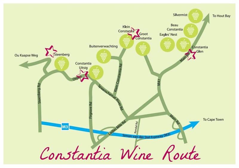 Principais vinícolas em Constantia nas proximidades da Cidade do Cabo