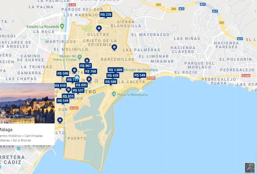 Mapa de onde ficar em Málaga