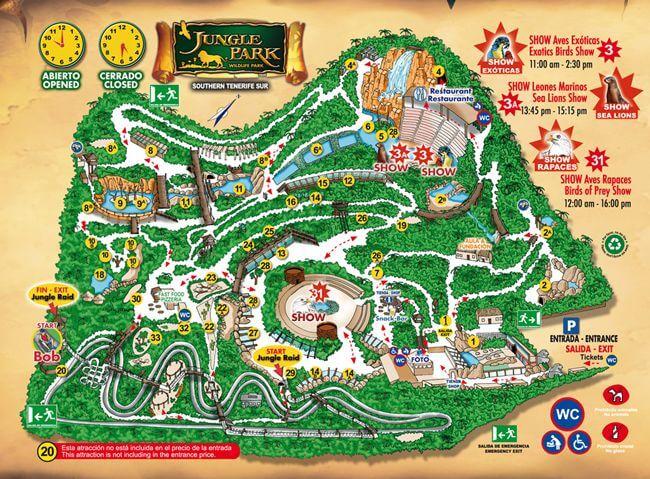 Mapa do Jungle Park in Tenerife