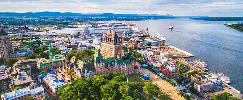 Vista aérea do Centro Histórico de Quebec