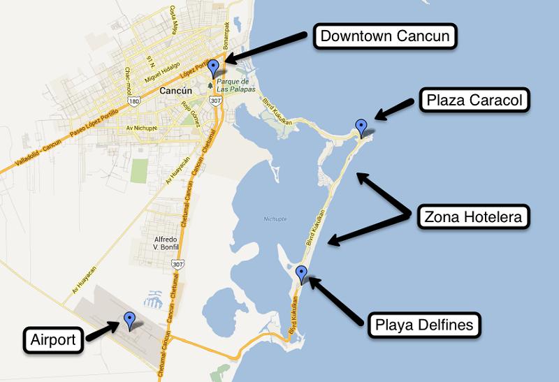 Onde ficam os hotéis resorts all inclusive em Cancún - Mapa