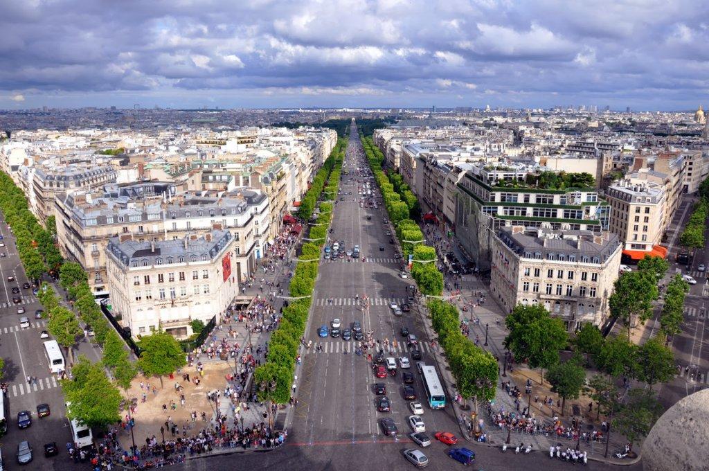 Champs-Elysées em Paris vista de cima