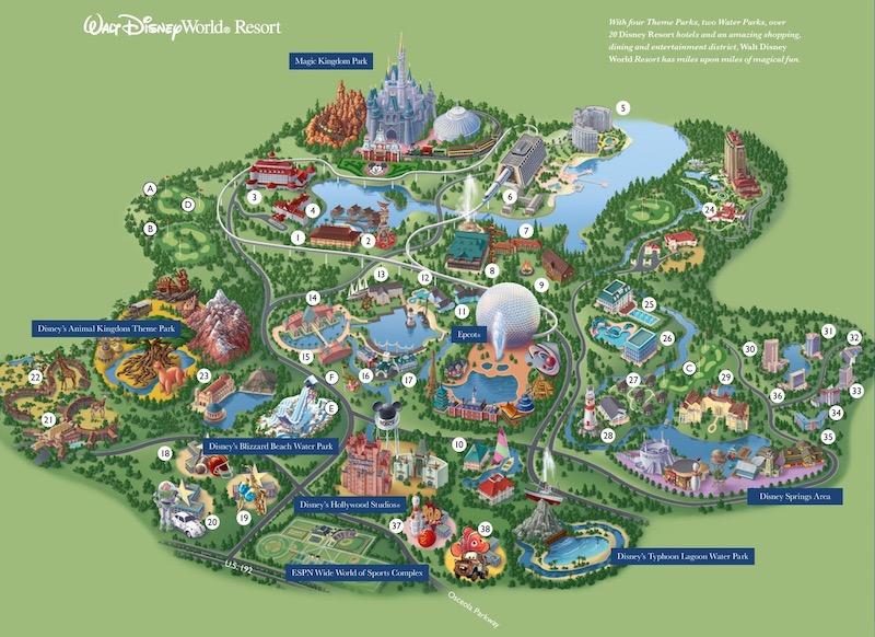 Mapa do Walt Disney World Resort em Orlando