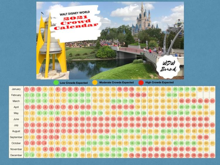 Calendário de lotação dos parques da Disney Orlando em 2021