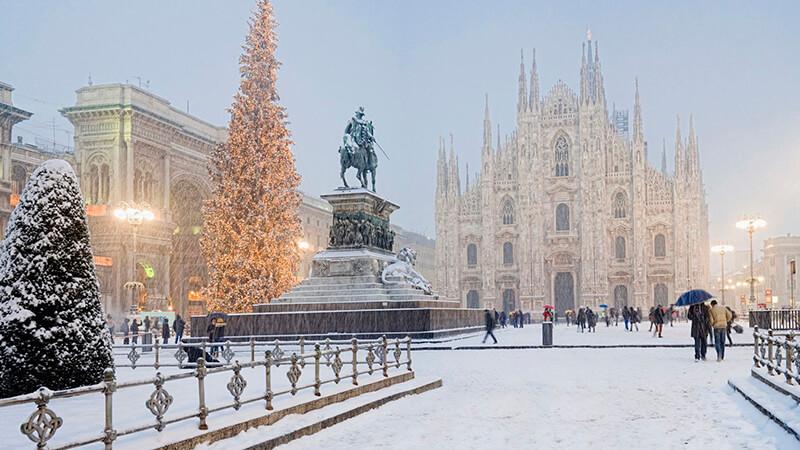 Inverno na cidade de Milão