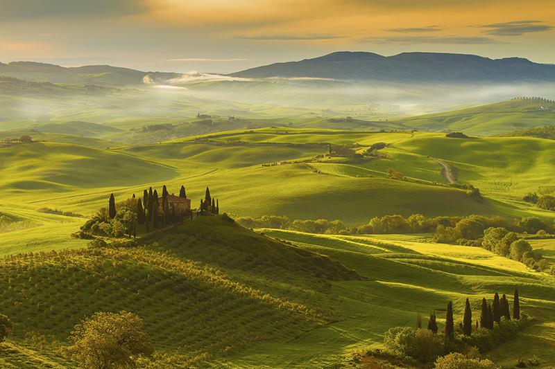 Campos de Val d'Orcia na Toscana