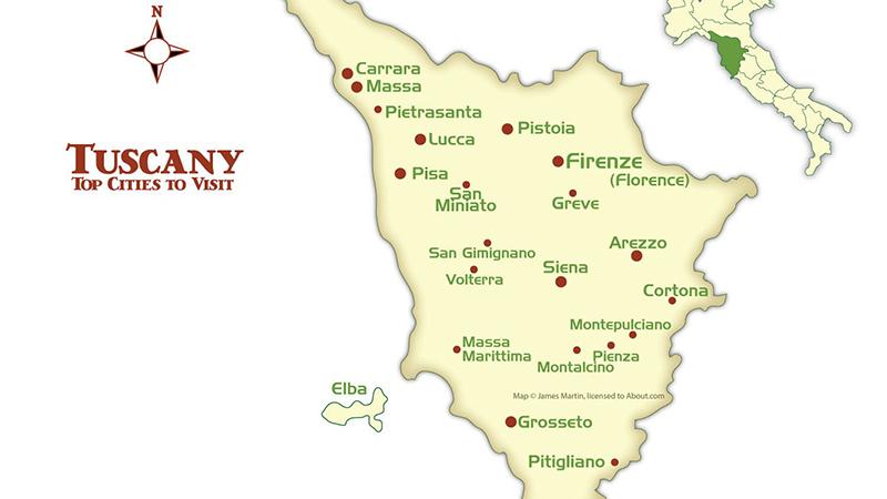 Mapa de Províncias da Toscana