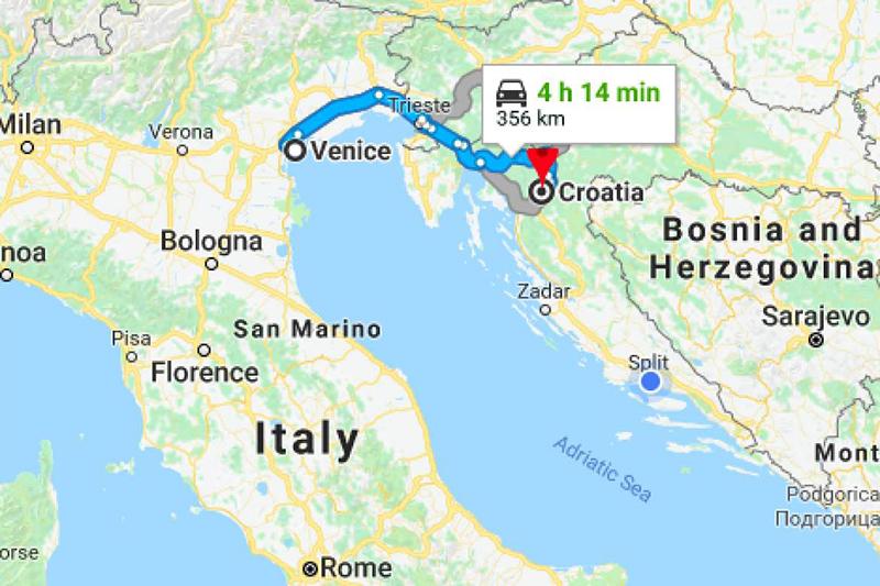 Mapa comparativo de tempo entre Veneza e Split
