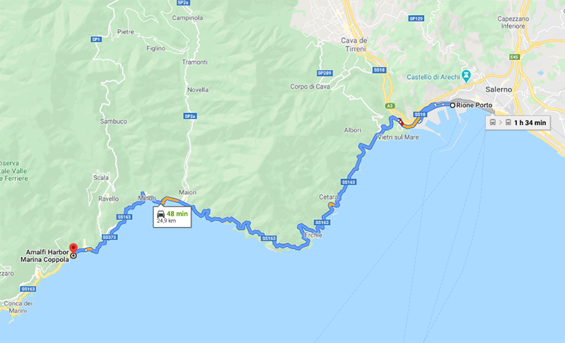 Mapa da viagem de Salerno para Amalfi