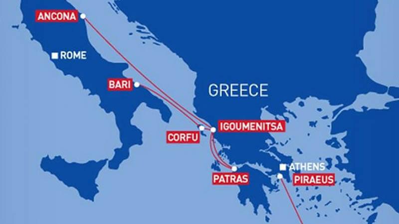 Mapa com os principais portos entre Itália e Grécia