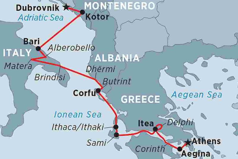 Mapa de possíveis rotas de ferries entre Itália e Grécia