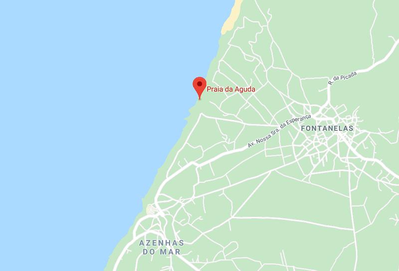 Mapa da Praia da Aguda em Sintra