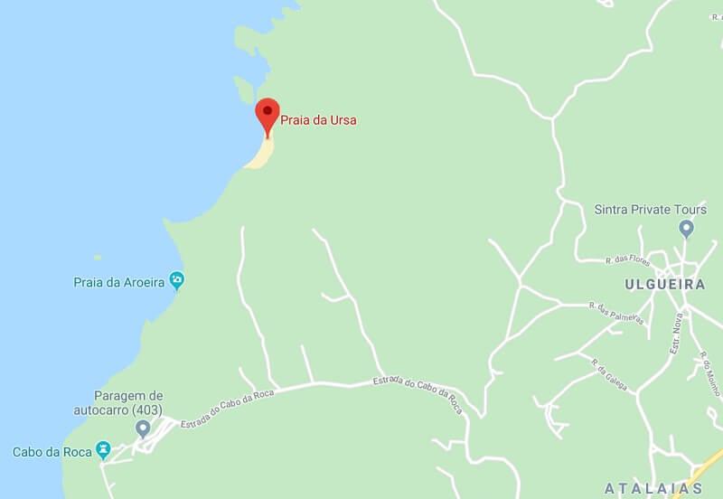 Mapa da Praia da Ursa em Sintra