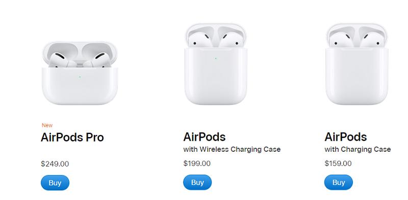 Diferentes modelos de AirPods da Apple