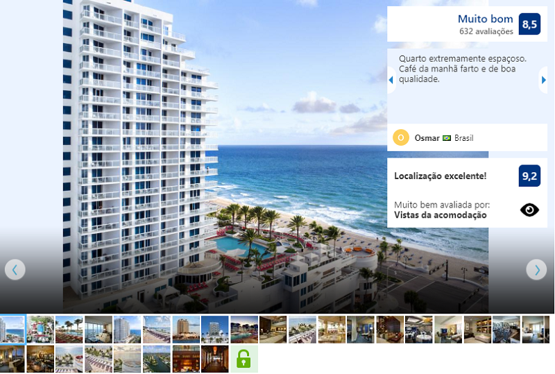 Fachada do Hotel Hilton Fort Lauderdale Beach Resort