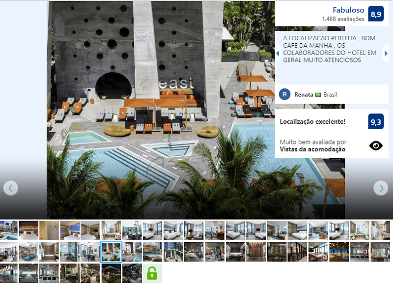 Área externa do hotel EAST em Miami