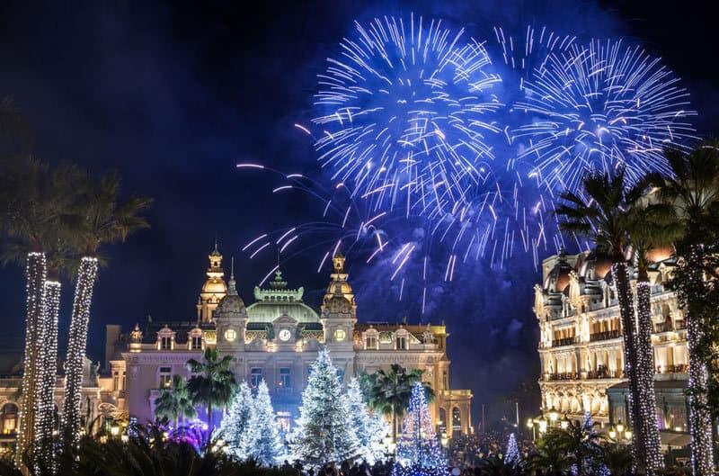 Luzes de Ano Novo em Mônaco