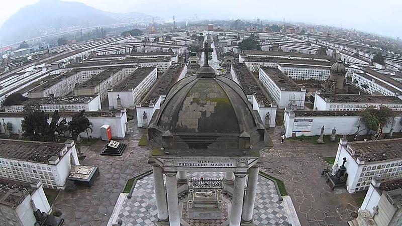 Vista aérea do Cemitério Presbítero Maestro em Lima