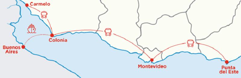 Mapa de viagens de ferry entre o Uruguai e a Argentina