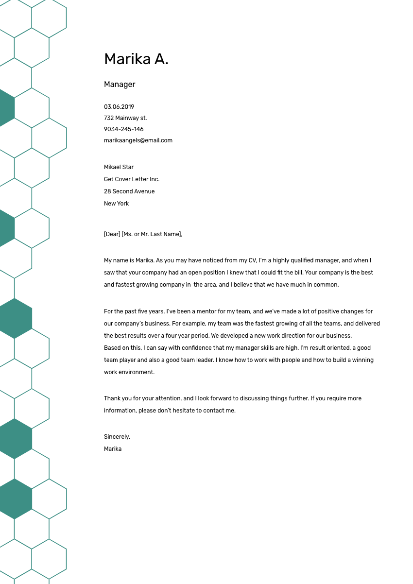 Production Manager Cover Letter Sample & Template 2019 ...