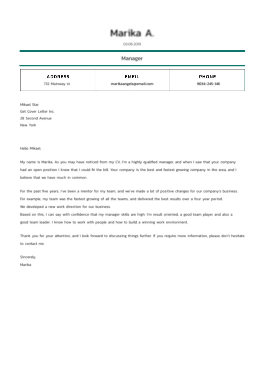 Template of a cover letter for bookkeeper job