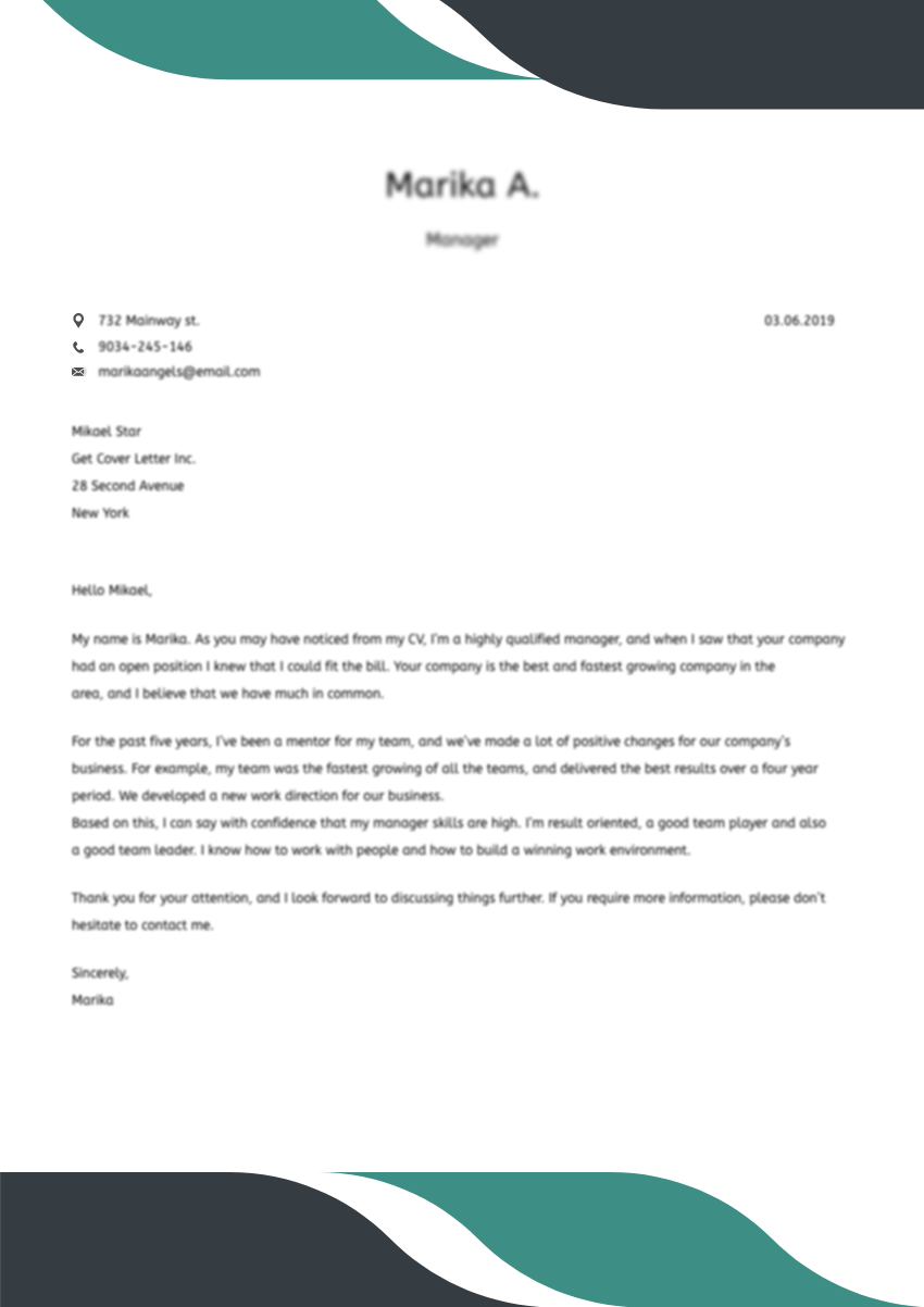 Template of the best cover letter for cashier