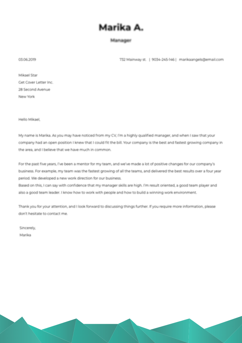 Template of a professional cover letter for medical scribe