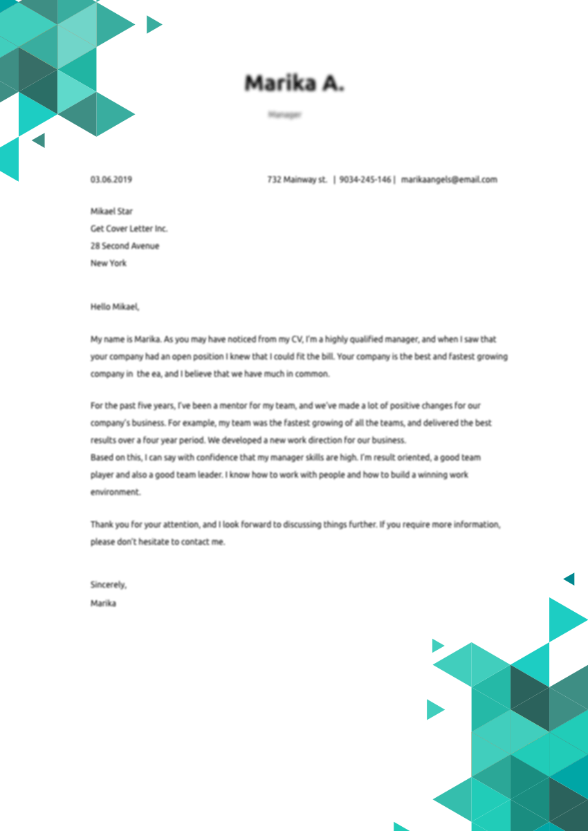 Template of a Cover Letter for Graphic Designer job application
