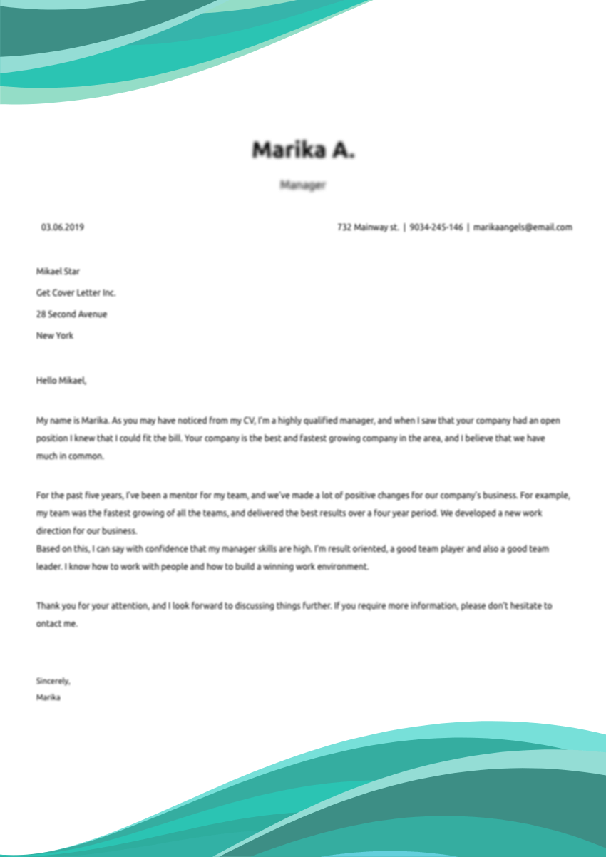 Choose the cover letter template for the nursing job application
