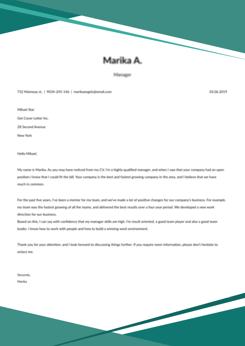 Check our cover letter template for a customer service job
