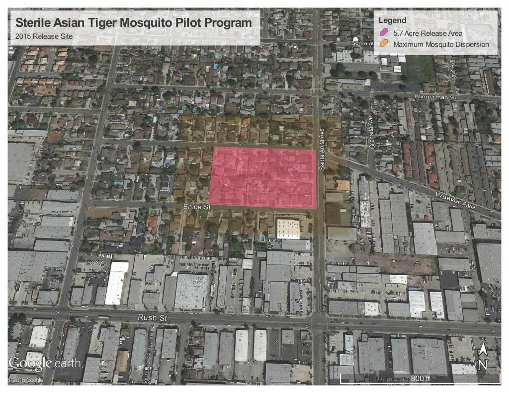 Sterile Male Tiger Mosquito Program Release Site Map