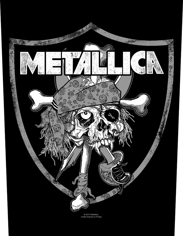 Metallica Printed Backpatch Raiders Skull