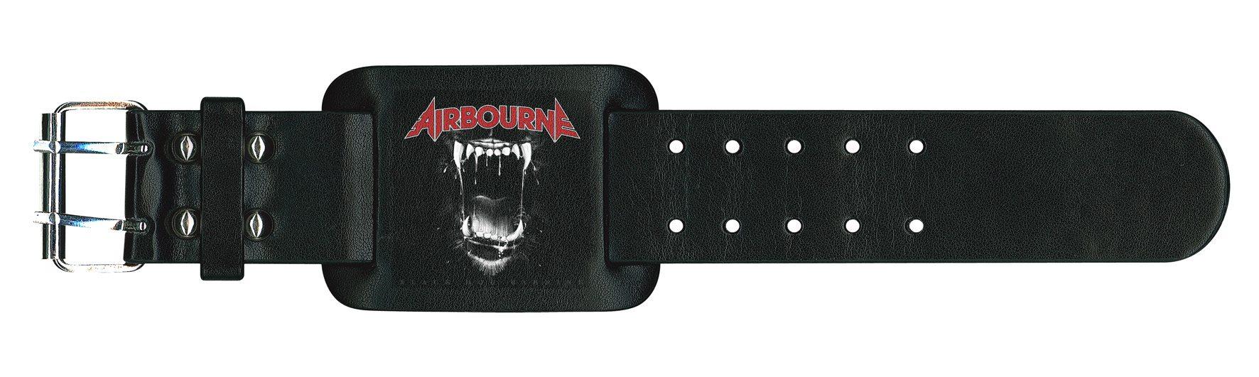 Airbourne Leather Wristband Black Dog Barking