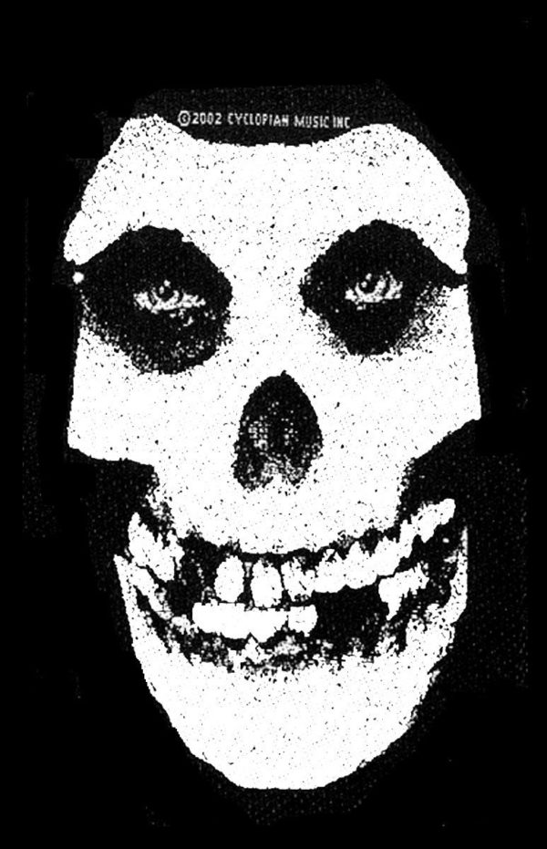 Misfits Woven Patch White Skull.