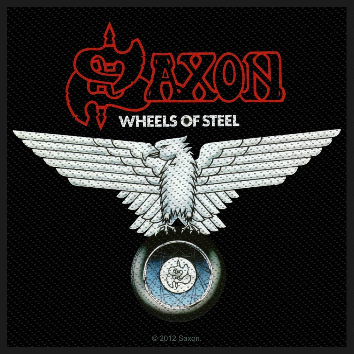Saxon Woven Patch Wheels Of Steel