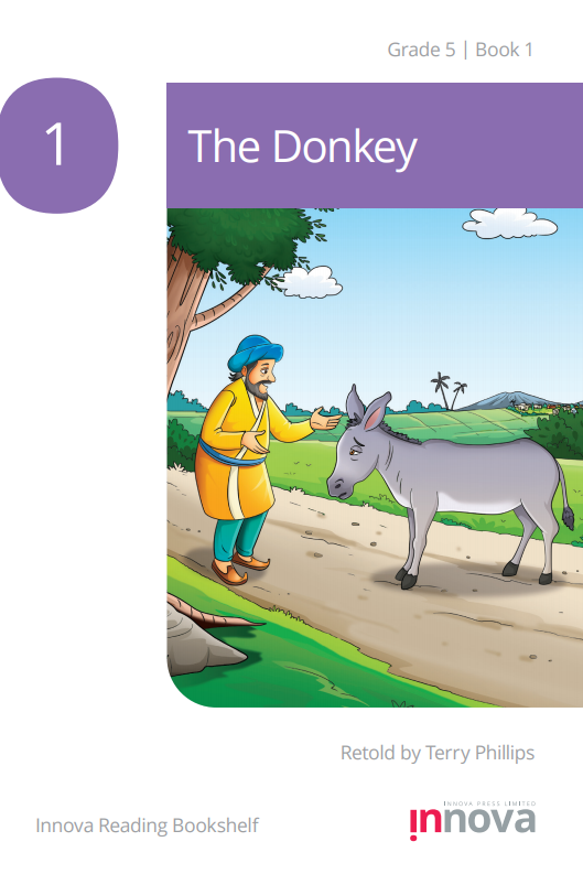 a man in a yellow robe, Nasruddin, looks towards a sad looking donkey as they stand in the middle of the road.