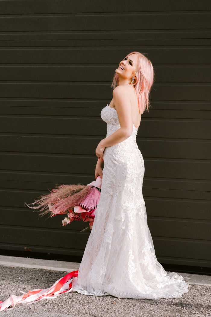 Real Bride Wearing Strapless Mermaid Wedding Gown Called Kaysen by Maggie Sottero