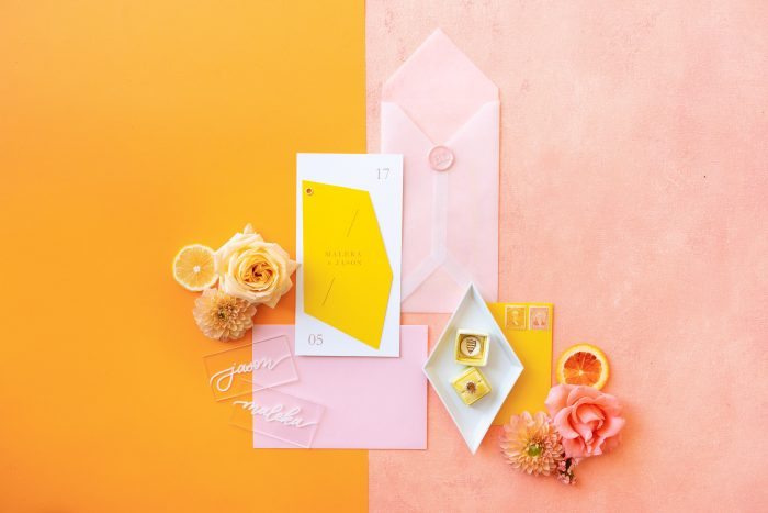 Color Block and Citrus Themed Wedding Invitations