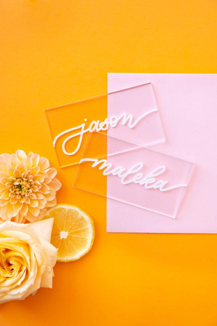 Transparent Name Blocks for Bride and Groom