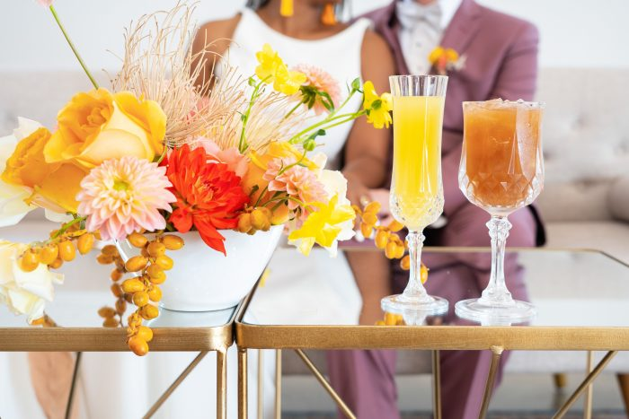 Luxe Bohemian Details and Gilded Furniture at Citrus Wedding Reception