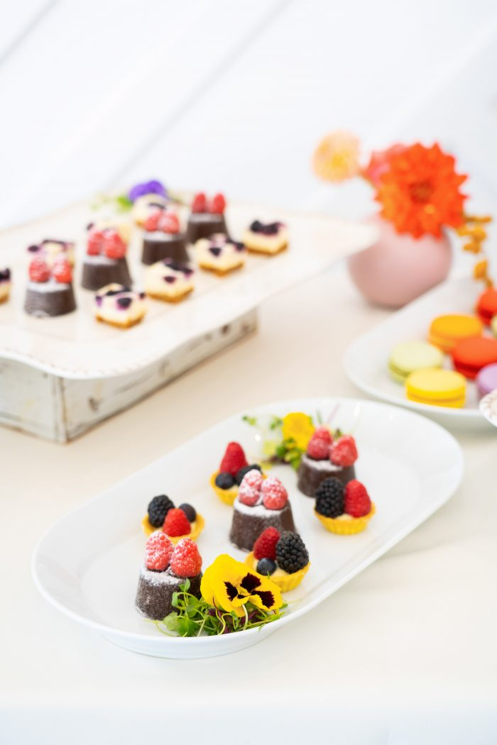 Colorful Sugar Dusted Desserts at Color Block Wedding Reception